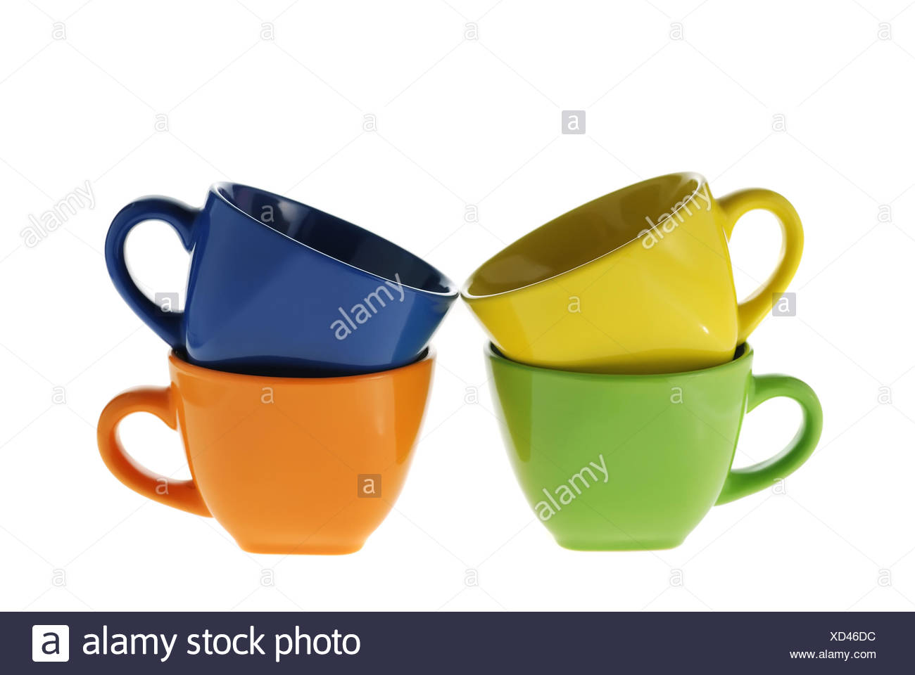 four color cups - Stock Image