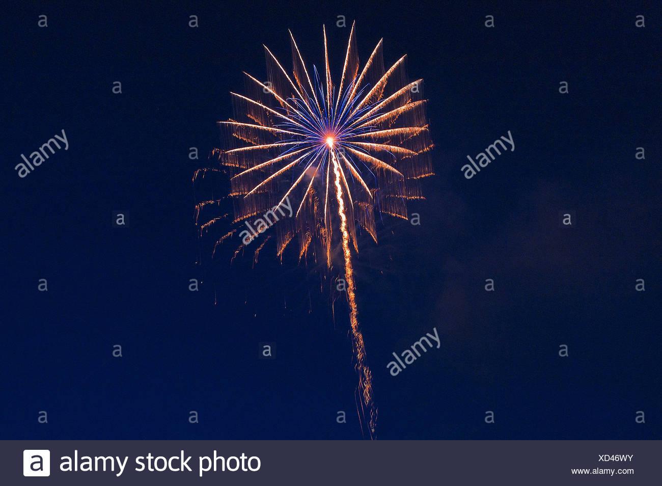 Fires, fireworks, pyrotechnics, rocket, rays, beams, explode, explosion, sky, darkly, sky, brightly, illuminates, light, Stock Photo