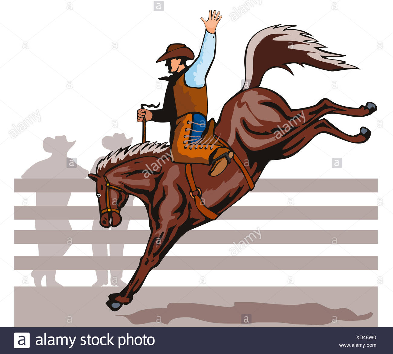 Rodeo cowboy riding bucking bronco horse