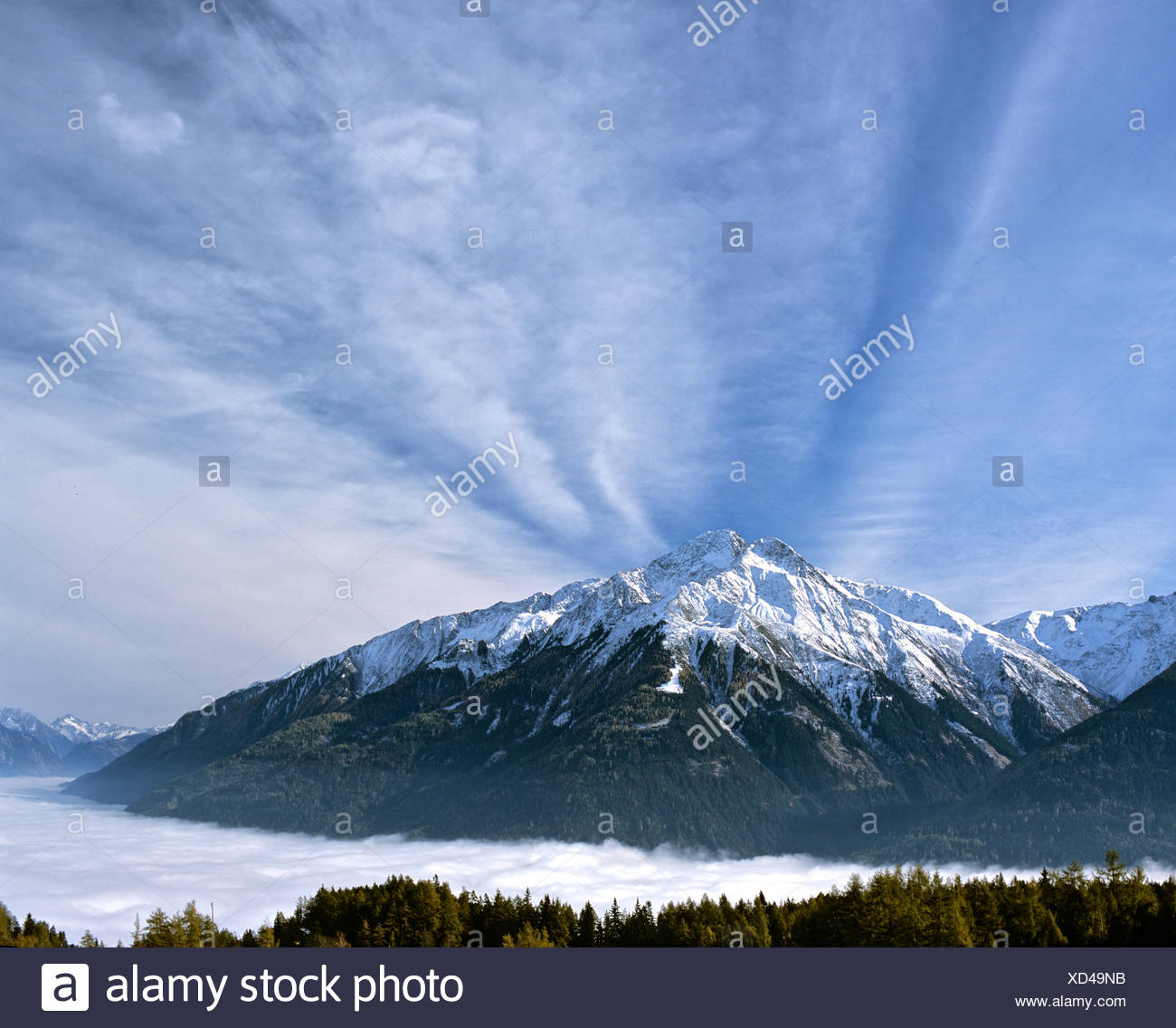 Mt. Hocheder viewed from Moesern, Inn Valley, Tyrol, Austria - Stock Image
