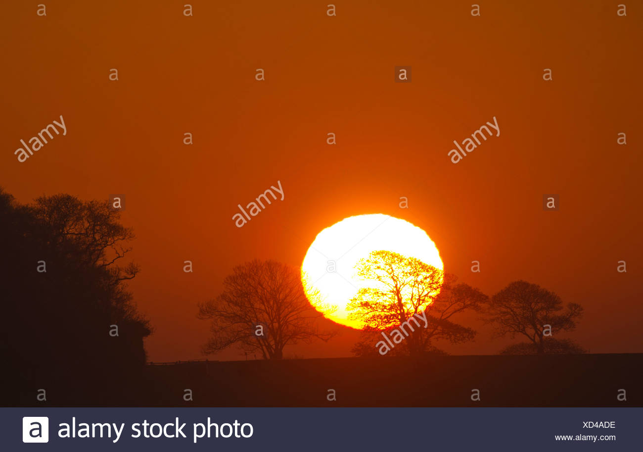 Sunrise over fields at Docking Norfolk spring - Stock Image