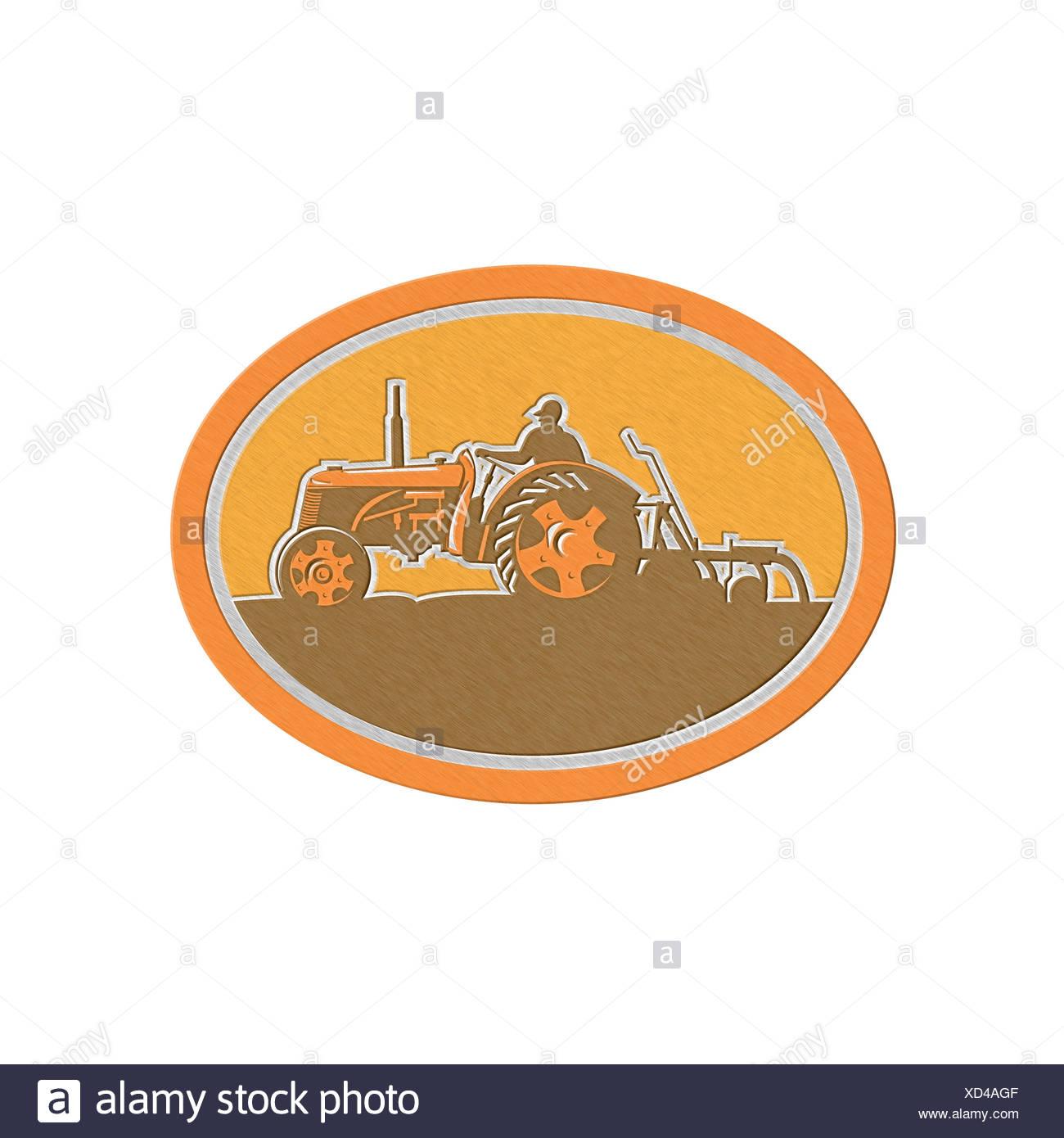 Metallic Farmer Driving Vintage Farm Tractor Oval Retro