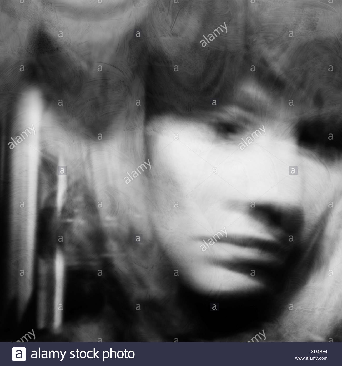 portrait of a woman lost in sorrow - Stock Image