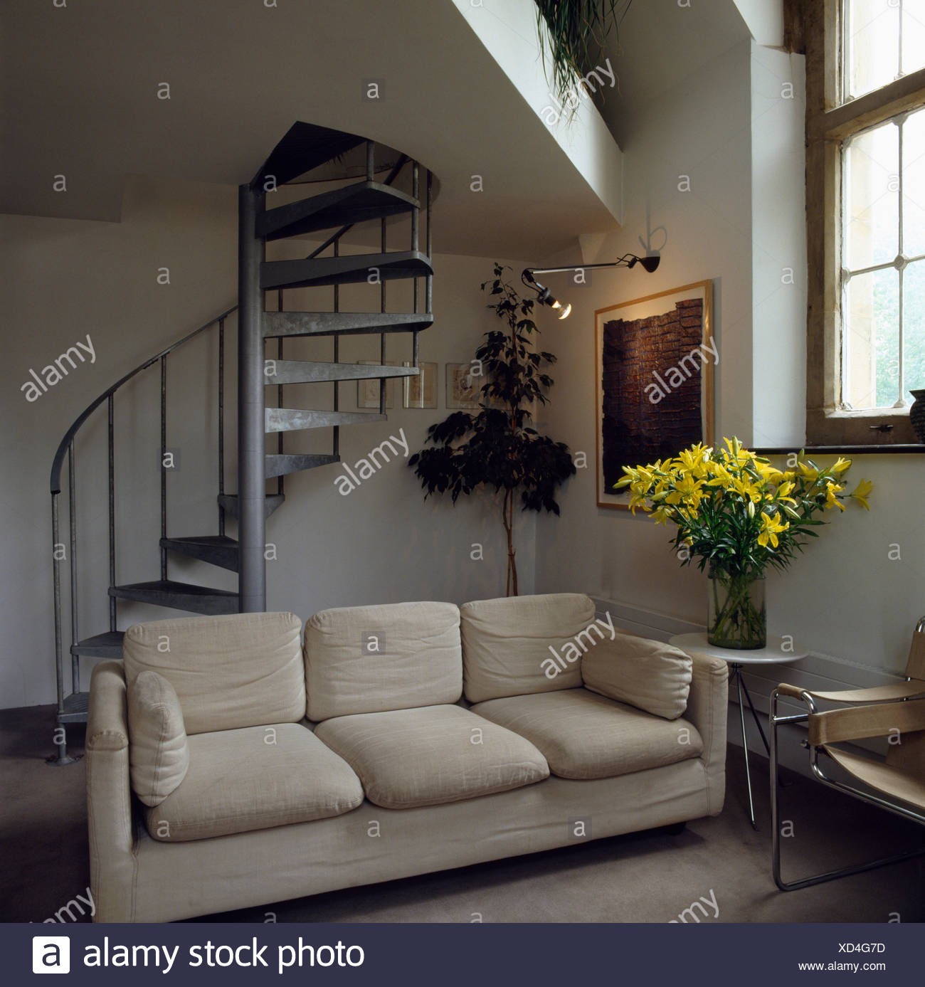 Superb Modern Sofa In Attic Living Room With Spiral Staircase