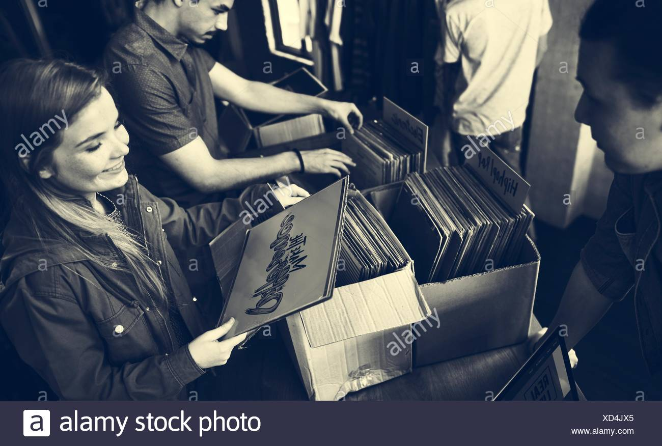 Vinyl Record Store Music Shopping Oldschool Classic Concept Stock