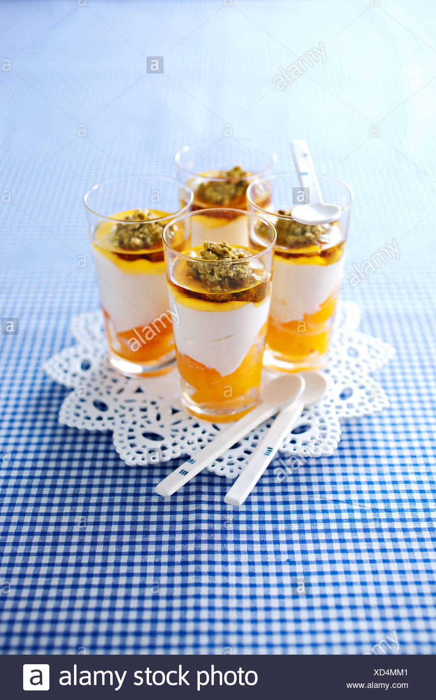 Fromage blanc with apricots - Stock Image