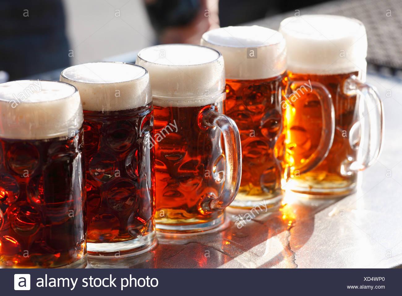Beer mugs or steins, Brauereigasthof Krug, brewery, restaurant, Breitenlesau, Waischenfeld, Franconian Switzerland - Stock Image