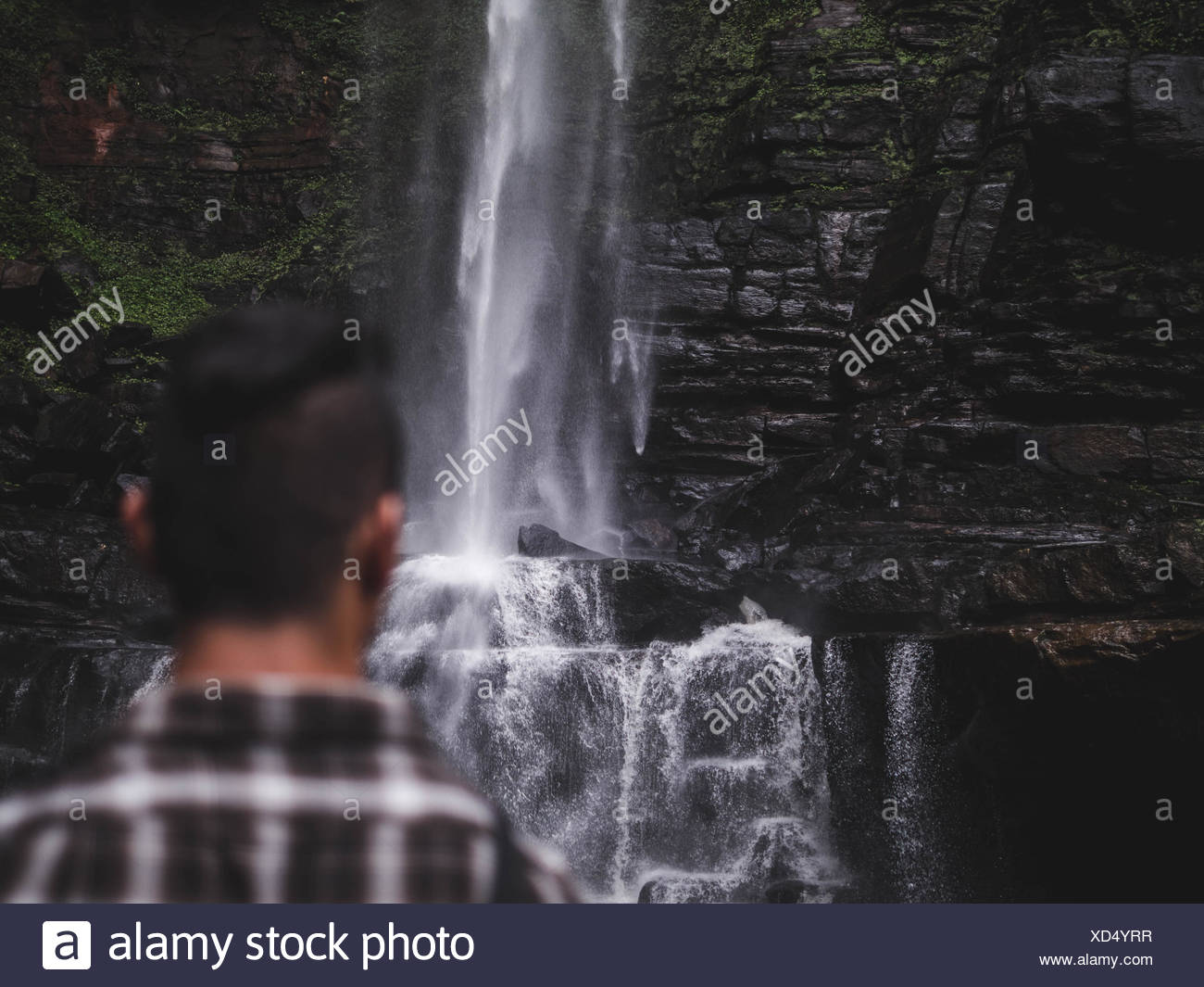 Rear View Of Man Against Waterfall - Stock Image