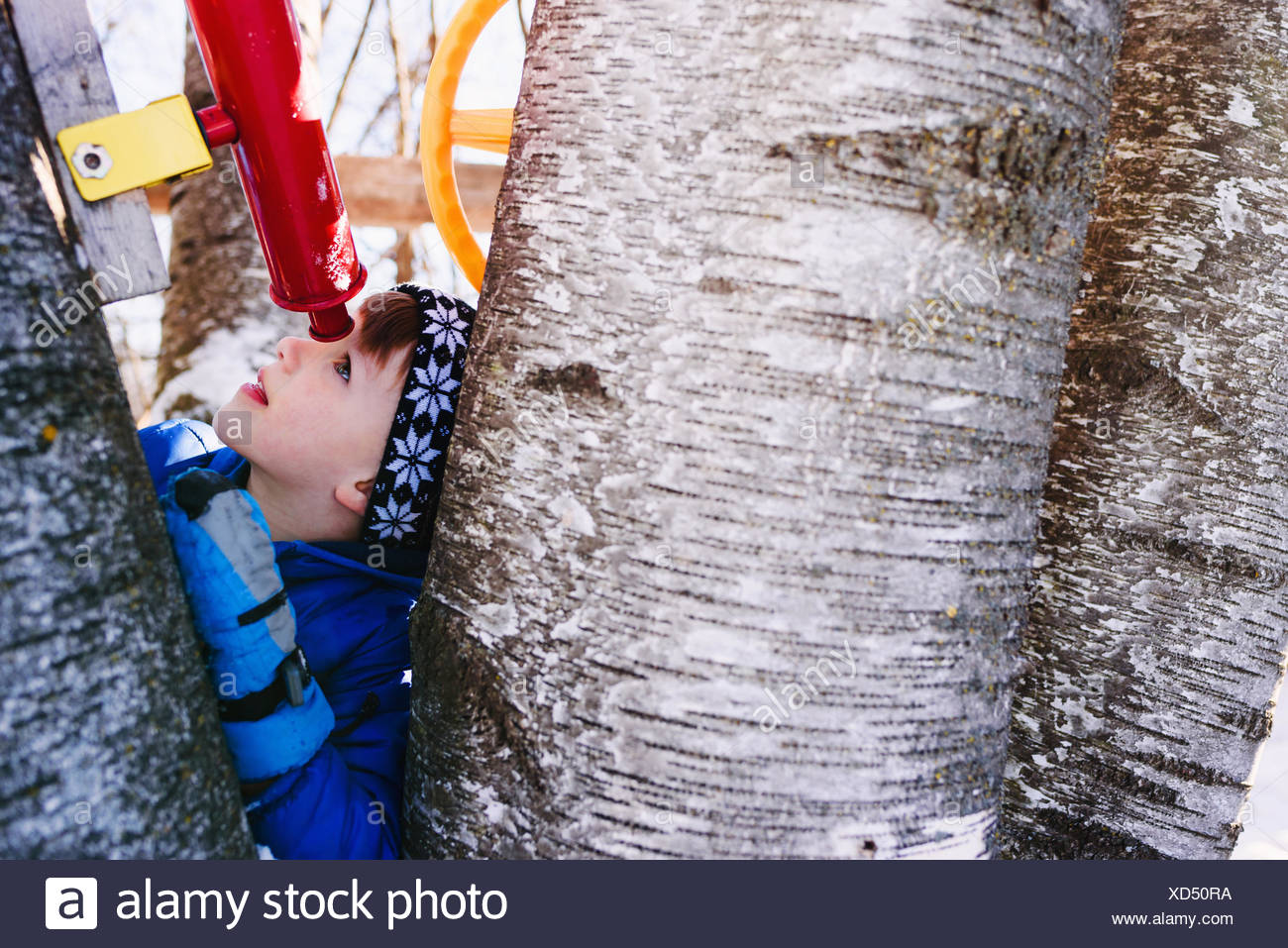 Boy in tree house looking through telescope - Stock Image