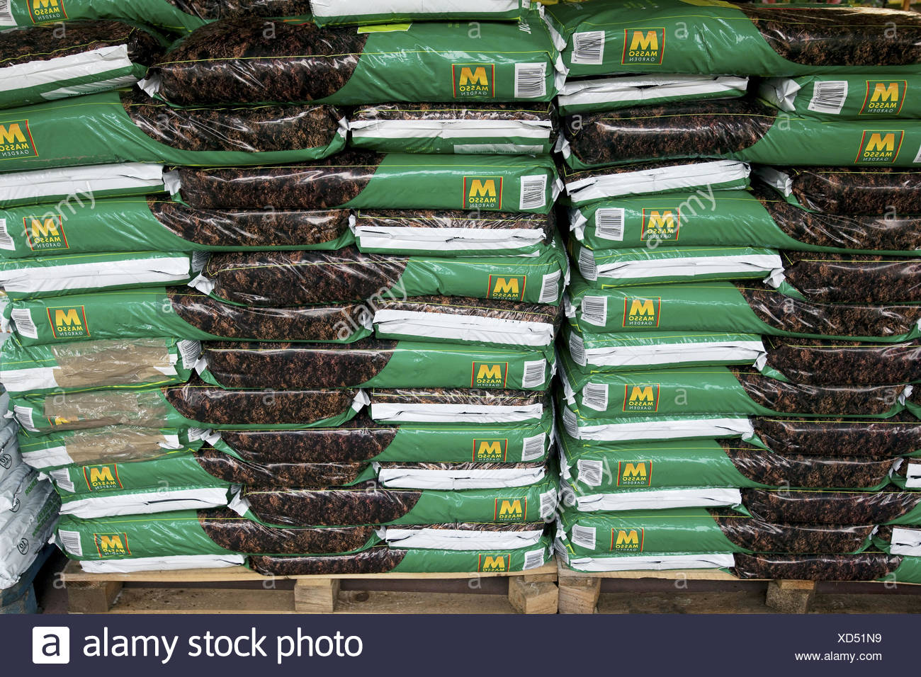 Sacs of gardening soil - Stock Image