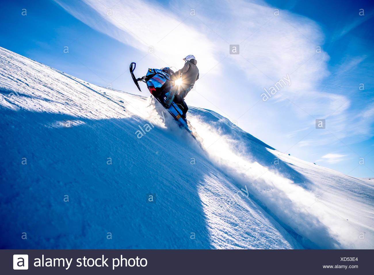 Ski Doo snowmobile, backlit, Arvidsjaur, Sweden - Stock Image
