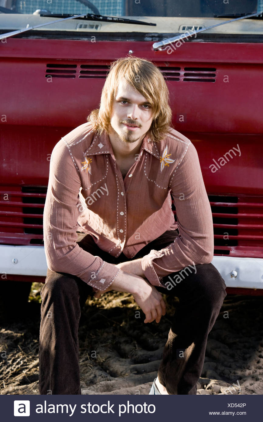 Portrait of young man, 1970s style Stock Photo