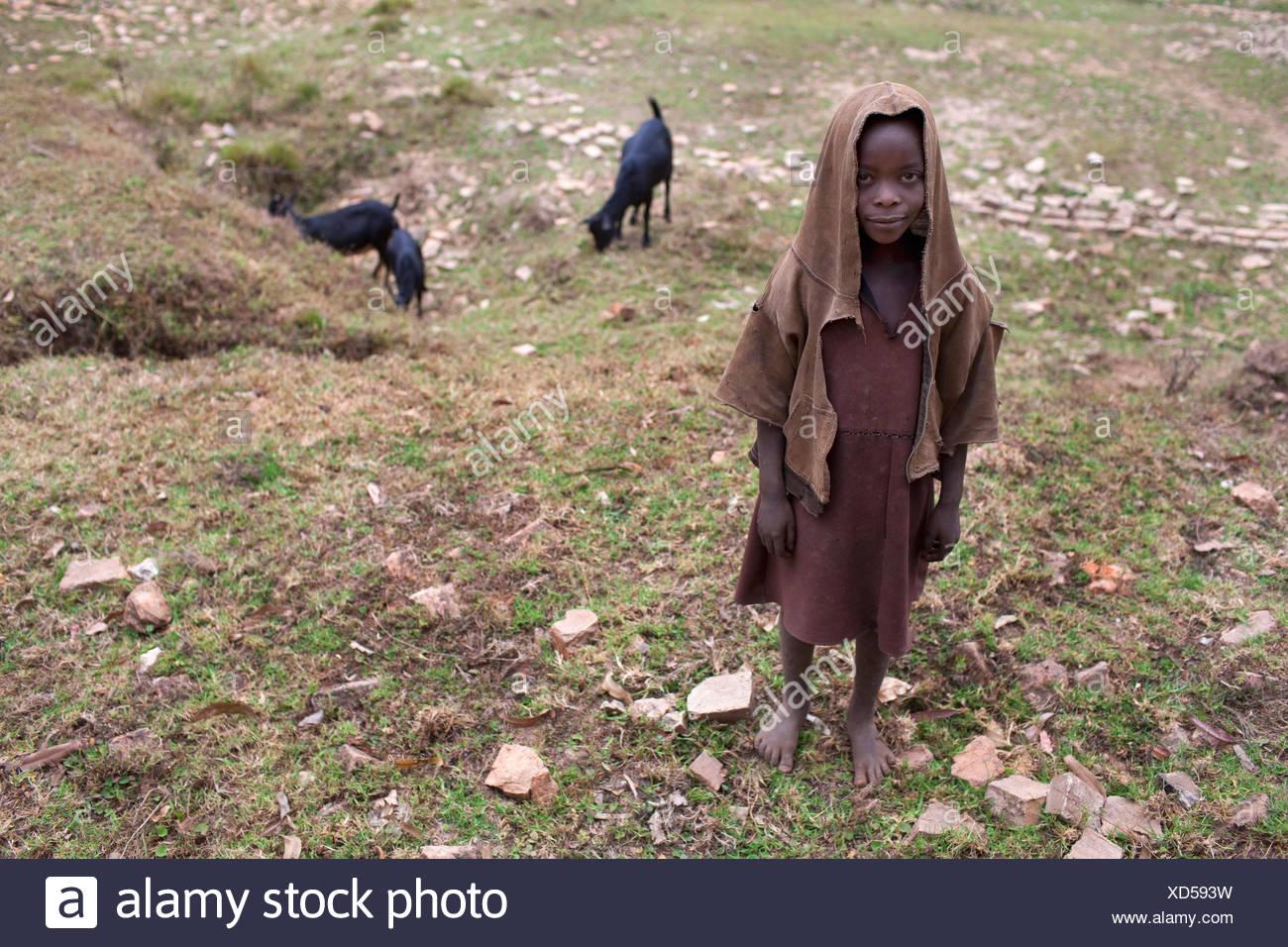 little shepard boy tending goats, Burundi, Karuzi, Karuzi - Stock Image