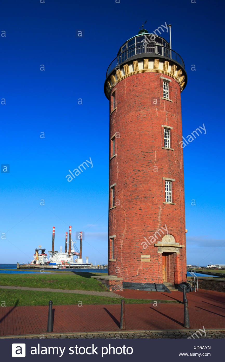 Old love, Cuxhaven, Germany, Europe, harbour, port, harbour, port, Hamburg  lighthouse, sky, coast, lighthouse, sea, North Sea, t - Stock Image