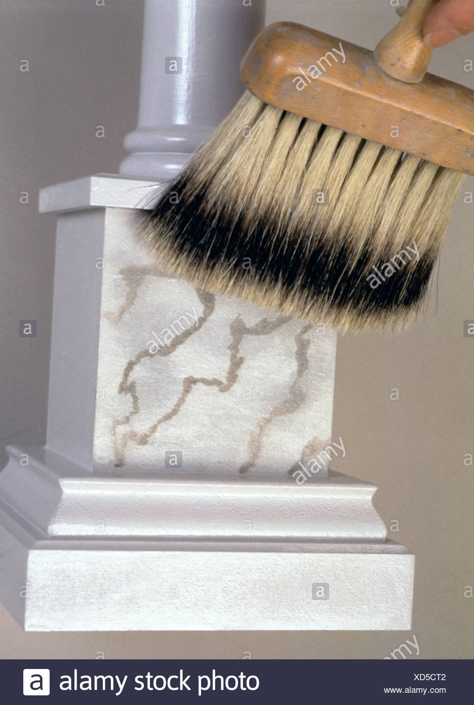 FORMock marble Reproducing a marble effect need not be as tricky as it appears Step by step grey marble paint effect Using a - Stock Image