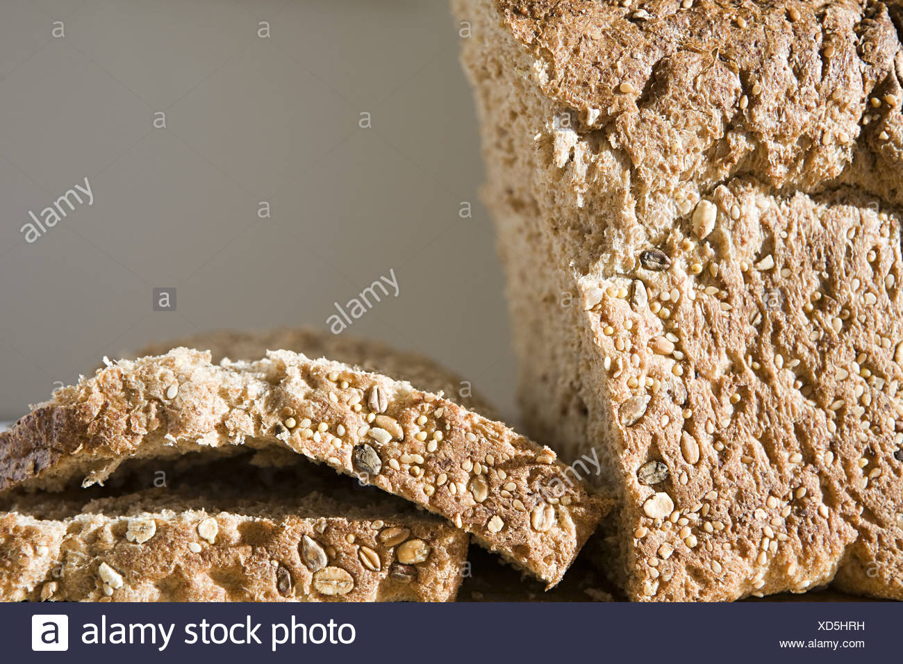 Slices of wholemeal bread - Stock Image