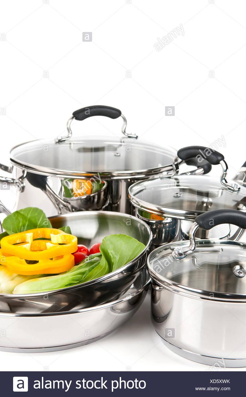 kitchen cuisine pots - Stock Image