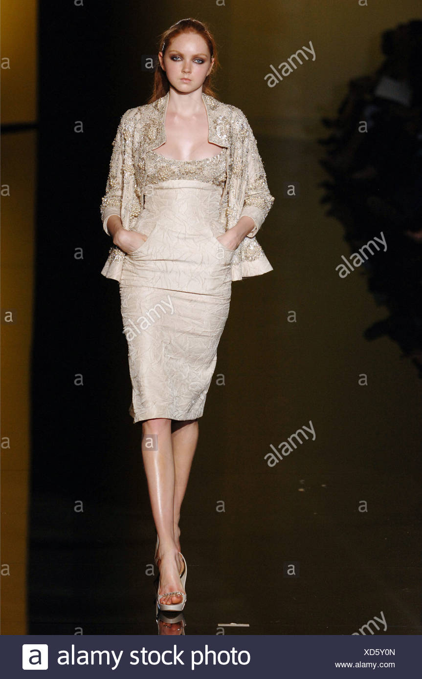 Elie Saab Paris Haute Couture Autumn Winter Female Model Lily Cole Wearing A Beige Coloured Knee