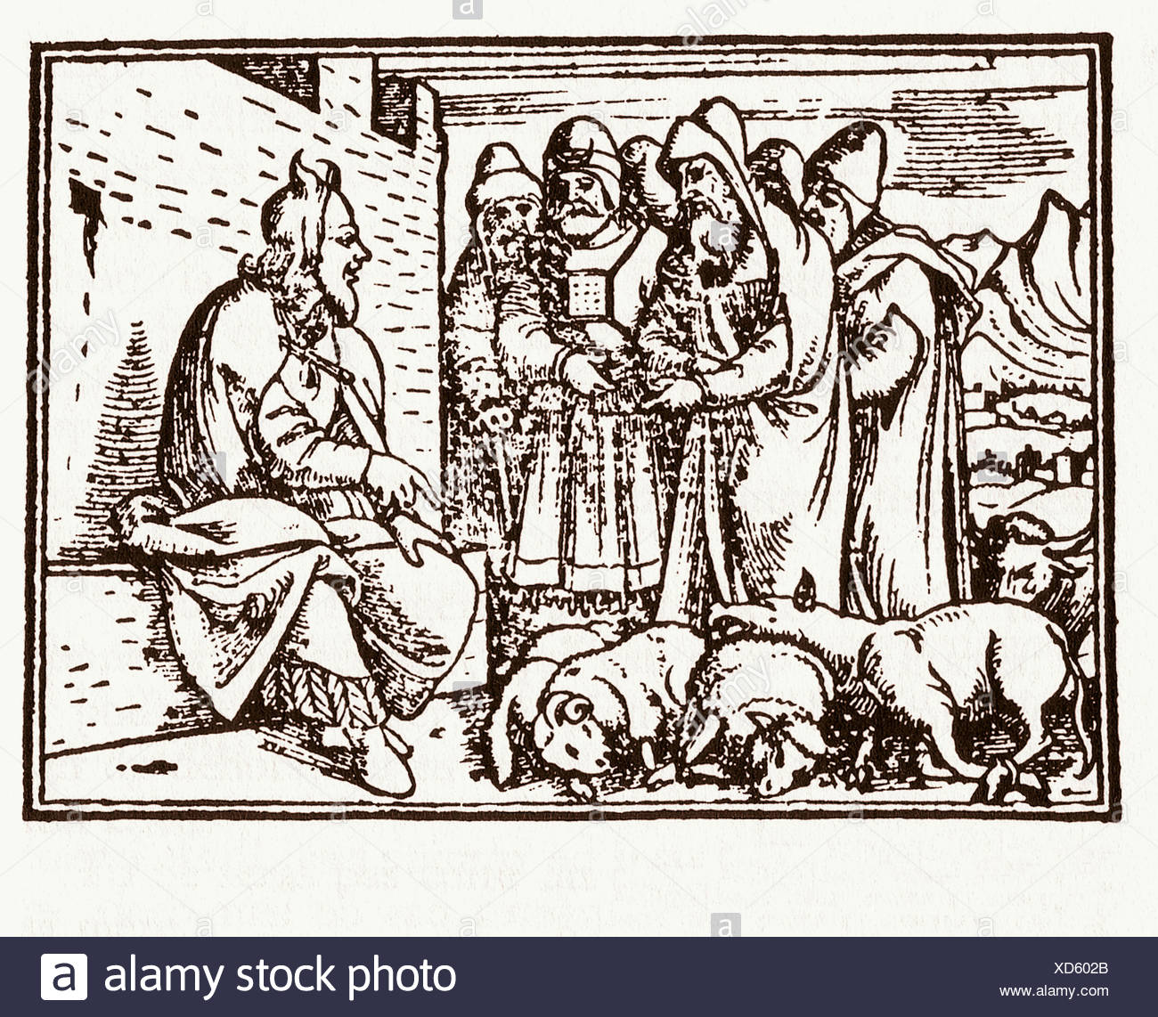 Deuteronomy: regulations on the tithe. German Bible. Zurich, 1638. - Stock Image