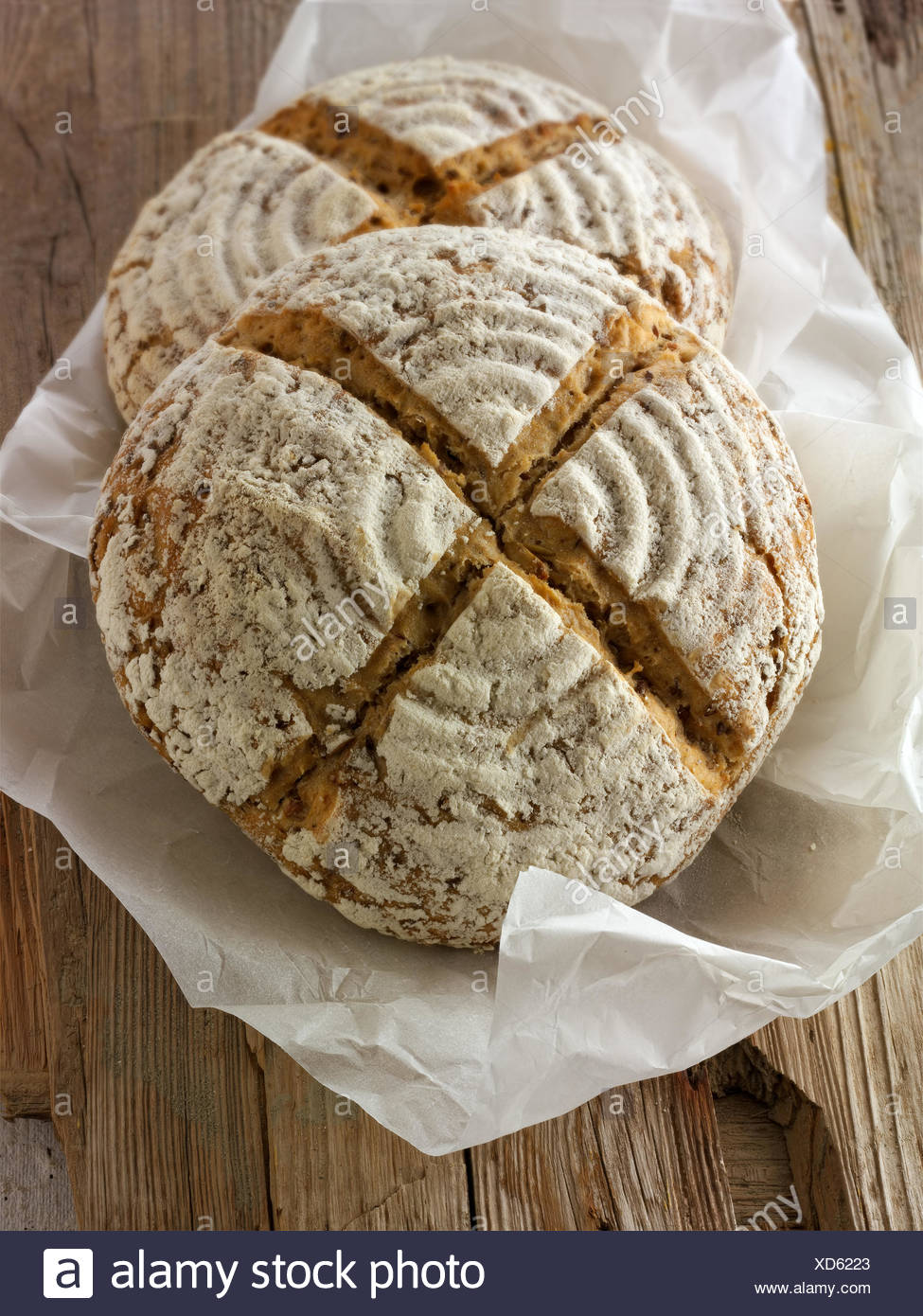 Artisan sour dough wholemeal seed bread with white, malted rye flour - Stock Image