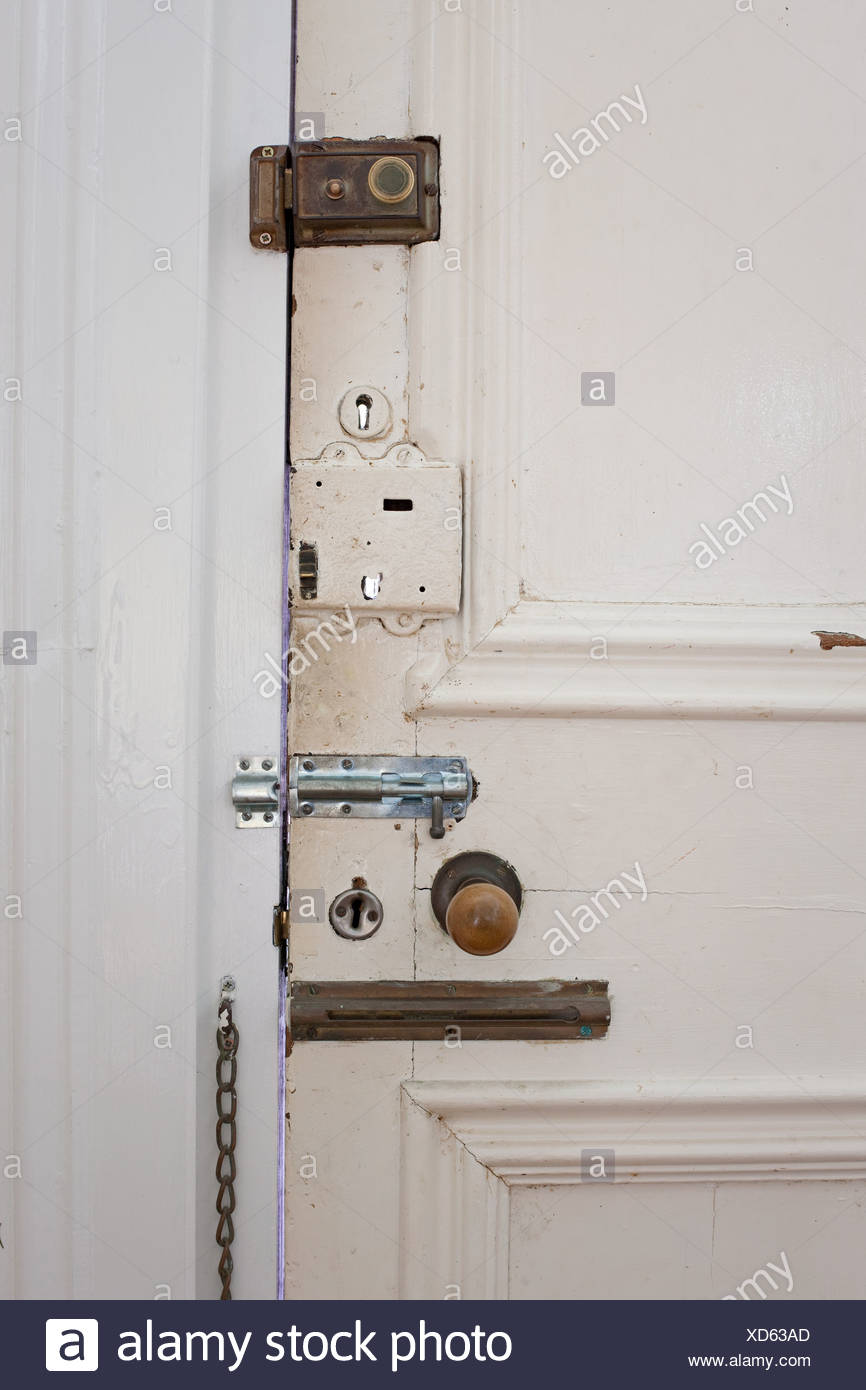 Door with many locks and bolts - Stock Image