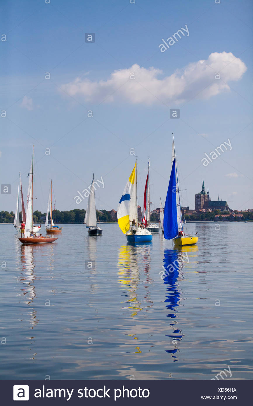Yachtsman during little wind in front of Stralsund - Stock Image