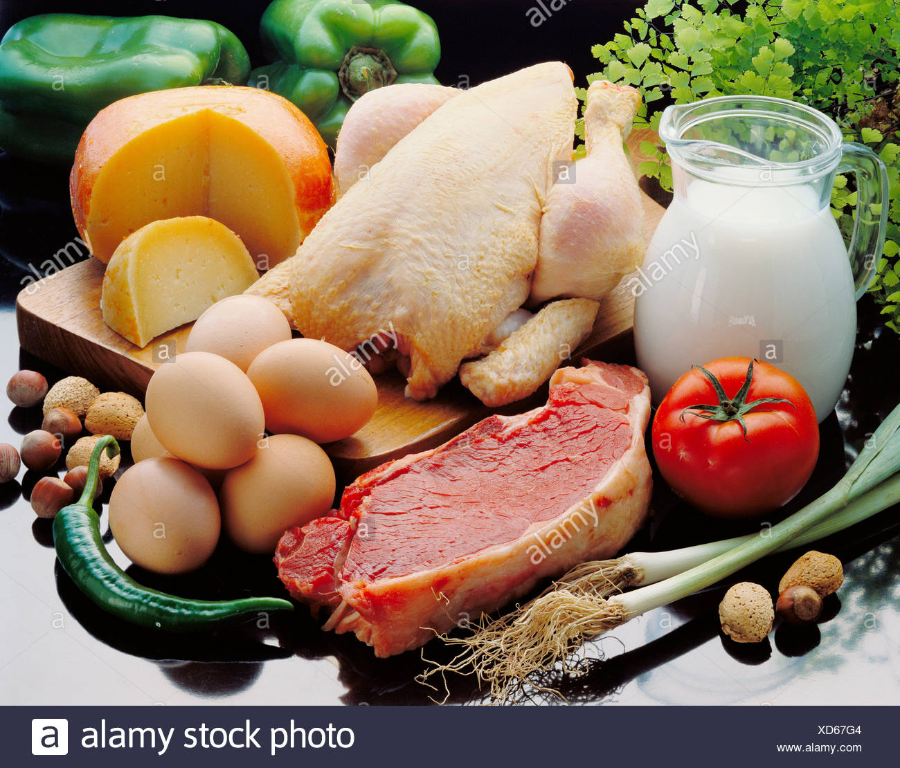 Food containing proteins - Stock Image