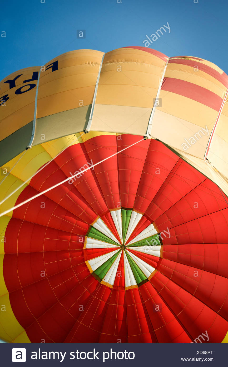 Hot air balloon viewed from below - Stock Image