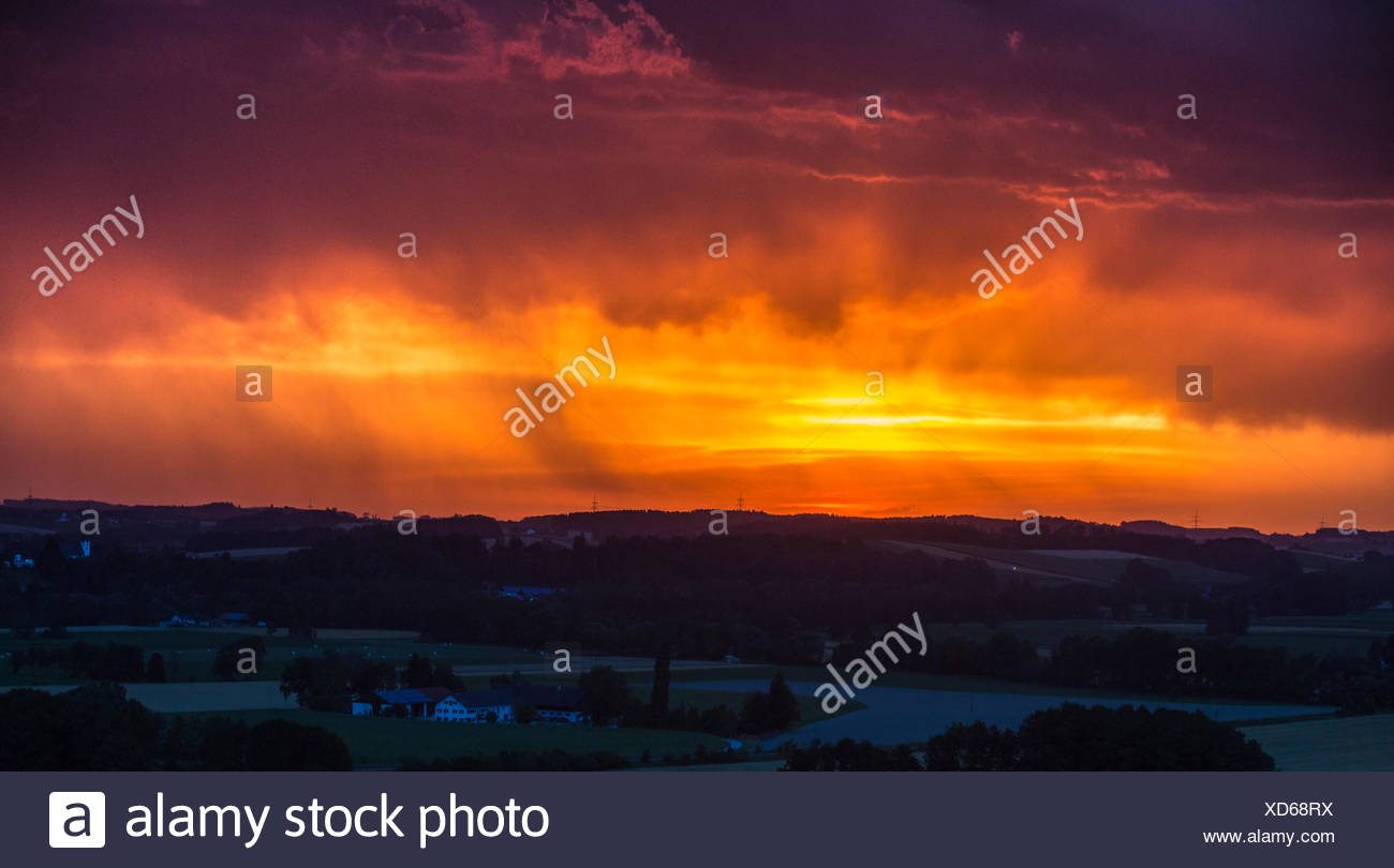 thunderstorm with heavy rain in front of red evening sky, Germany, Bavaria, Isental, Dorfen - Stock Image