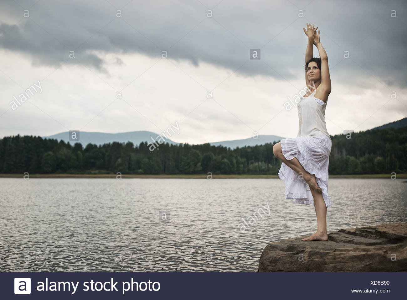 Woodstock New York USA woman dancing gracefully in the open air - Stock Image