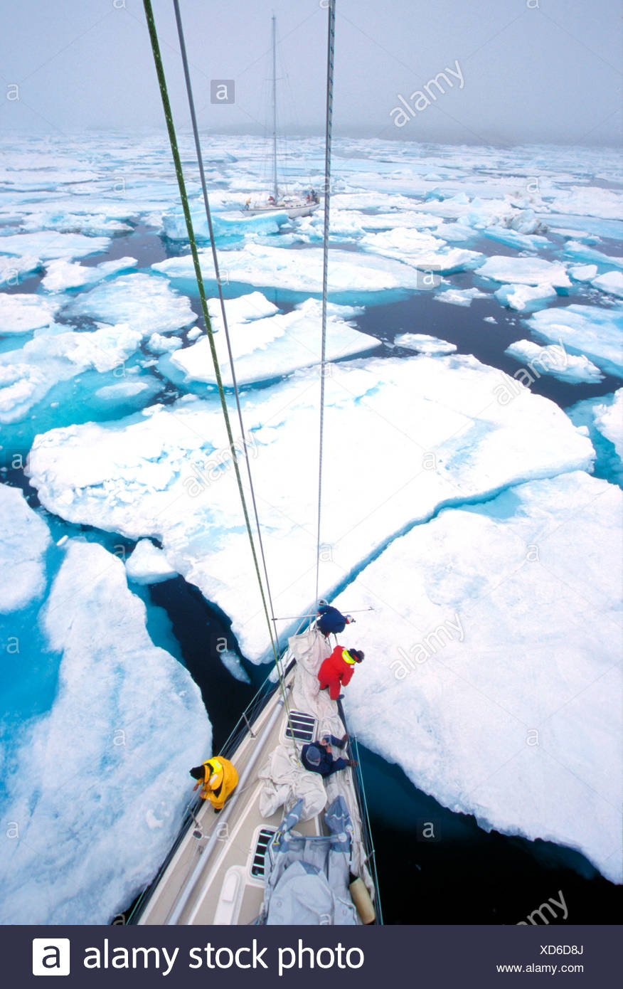 The Yacht Pelagic locked in the ice in Antartica - Stock Image