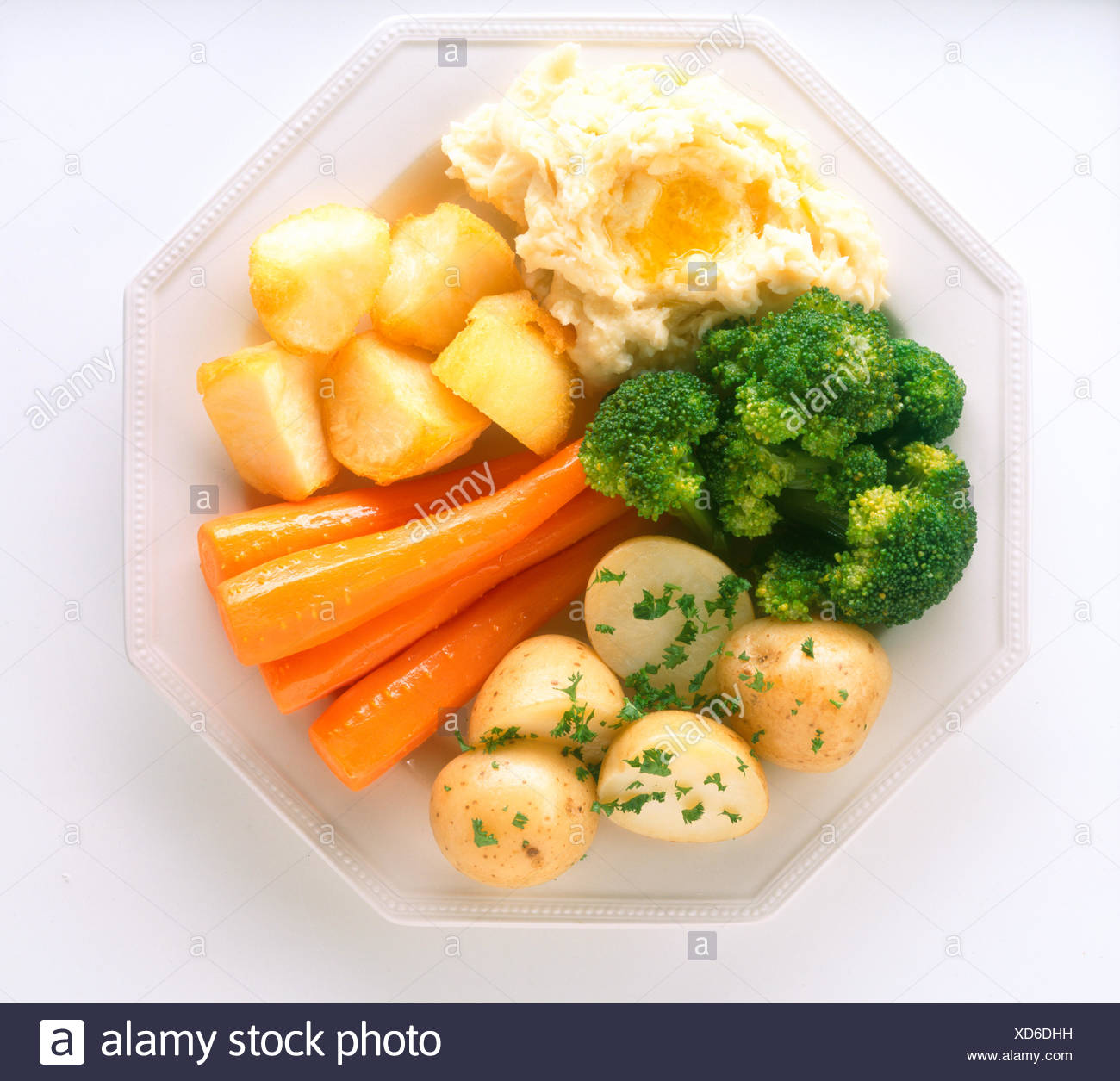Ireland Vegetable Side Plate With Steamed Broccoli Carrots Roasted Boiled And Mashed Potatoes Stock Photo Alamy