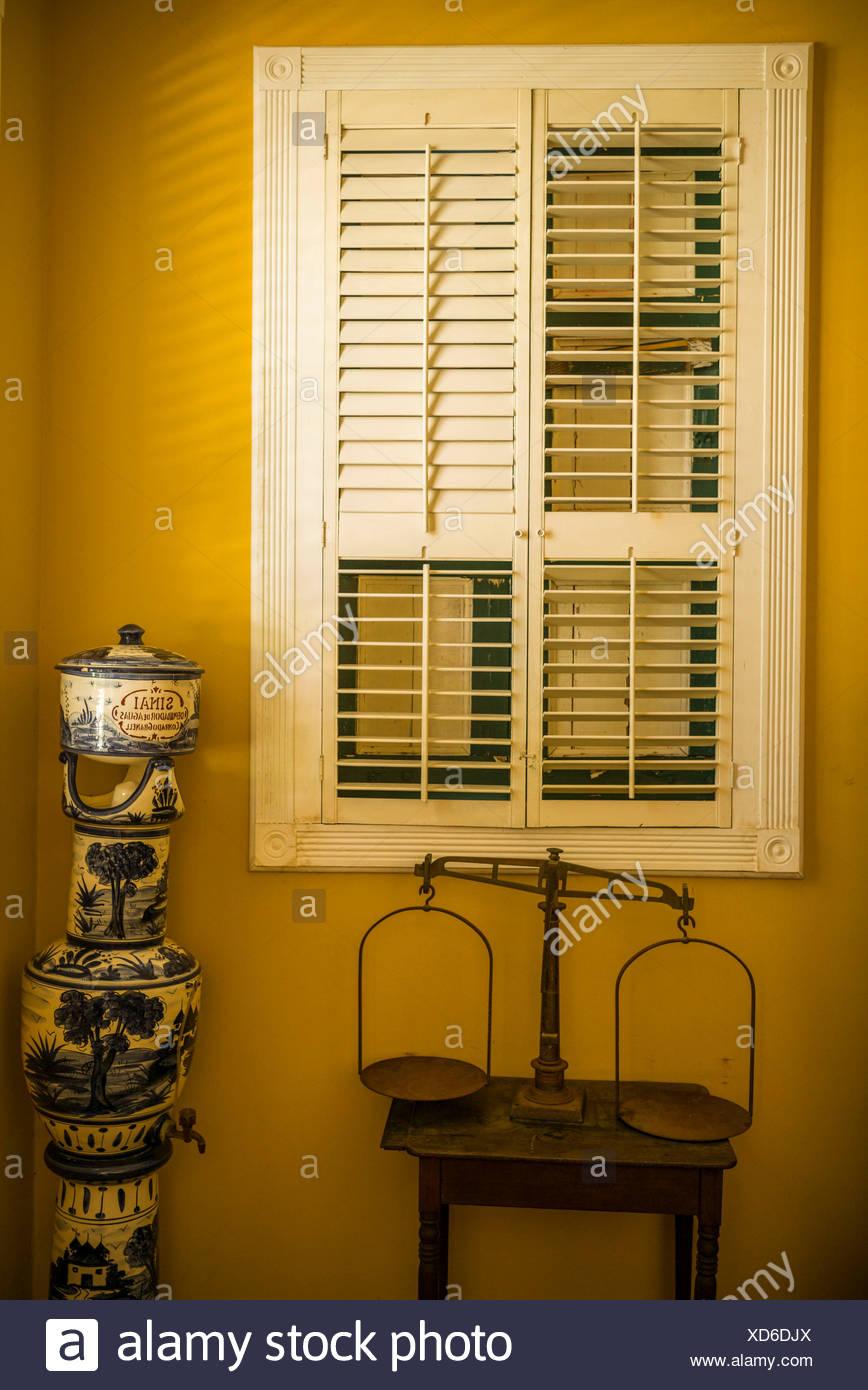 U.S. Virgin Islands, St. Thomas, Charlotte Amalie, Haagensen House, 1830s Danish banker's residence, interior - Stock Image