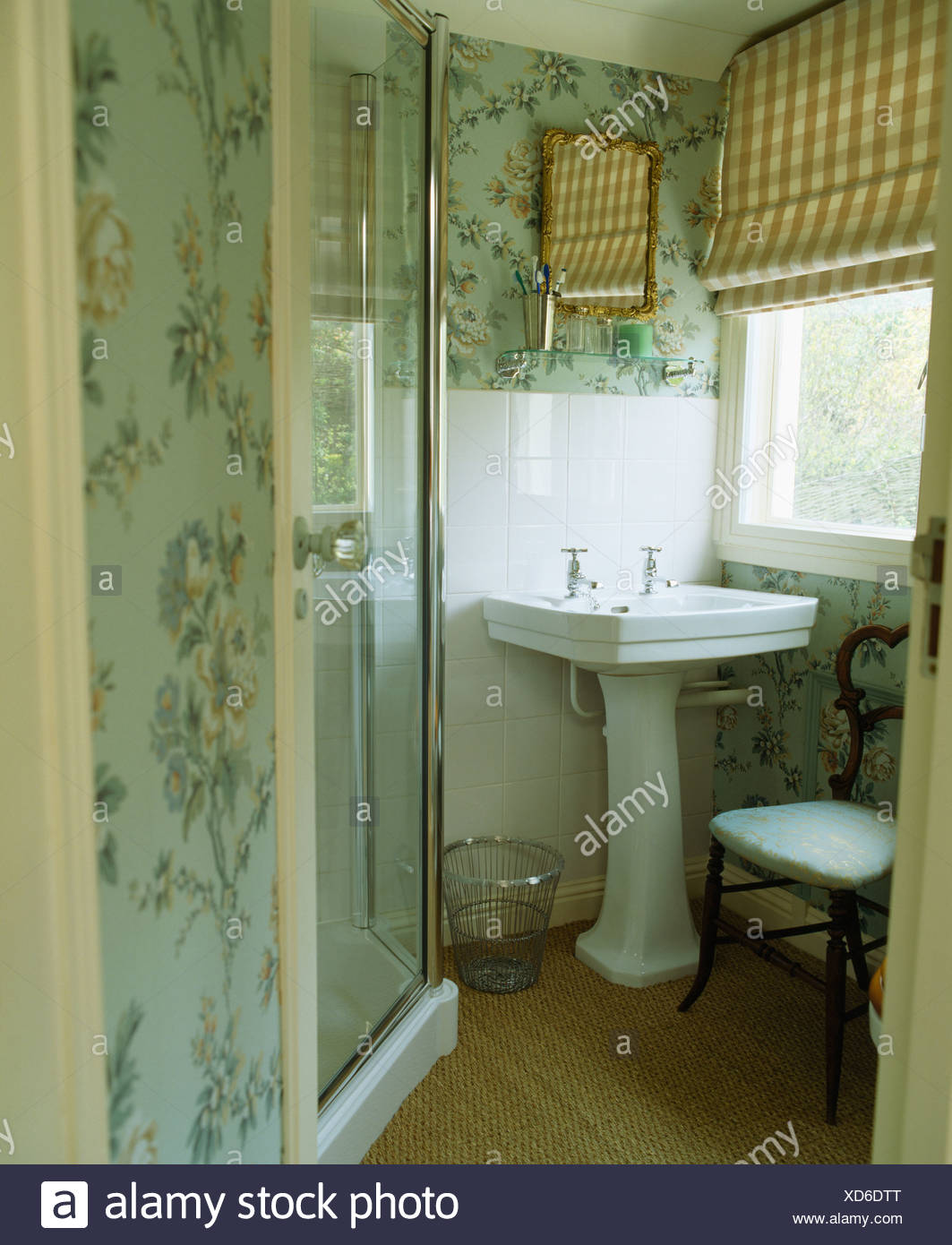 Excellent Pastel Blue Patterned Wallpaper In Small Bathroom With Download Free Architecture Designs Ferenbritishbridgeorg