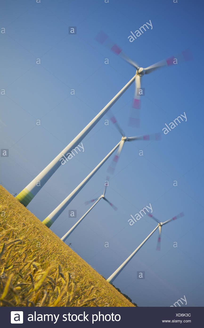 Germany, wind turbines, field, wind power plant, - Stock Image