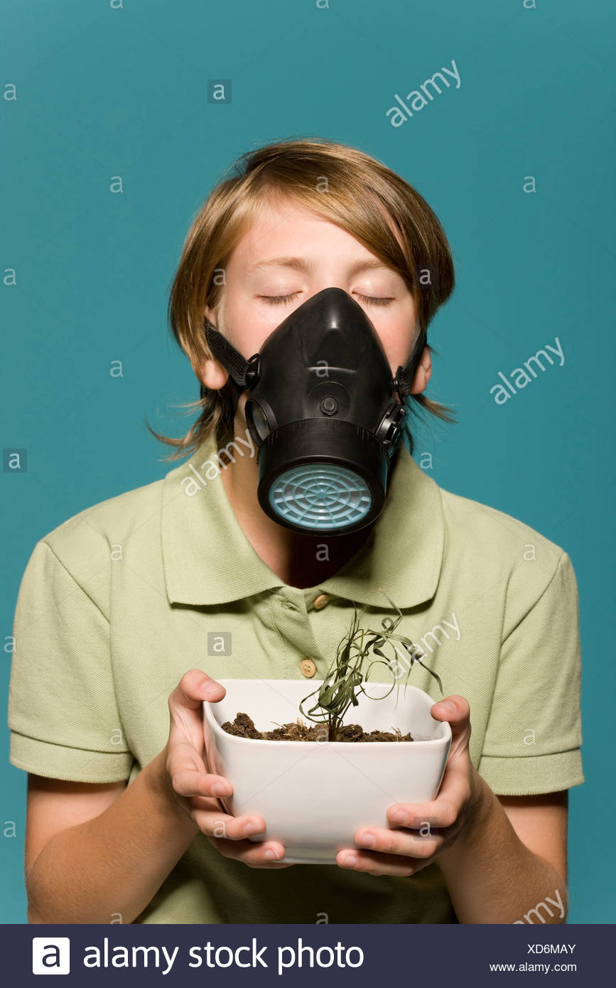 Boy wearing gas mask, holding wilted potted plant - Stock Image