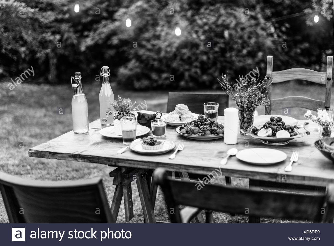 Food Table Black And White Stock Photos Images Alamy