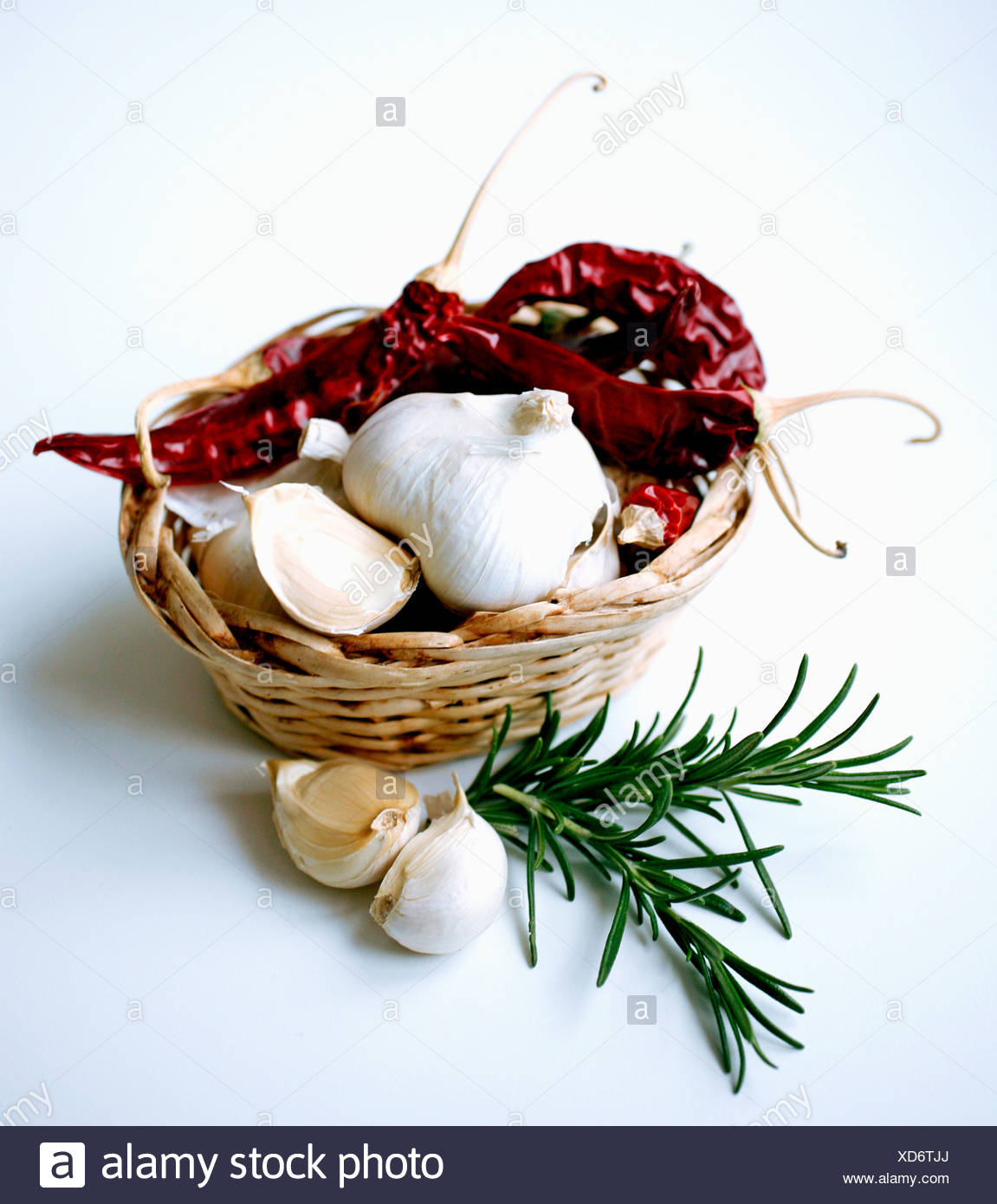 Fresh spices over white background - Stock Image