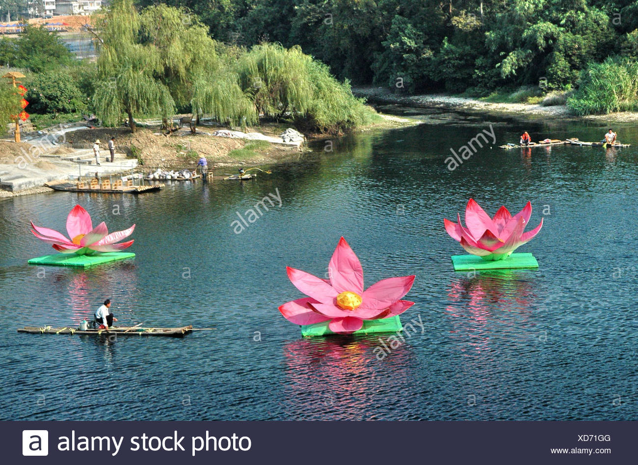 China Guilin Yangshuo Li River Large Lotus Flower Decorations On