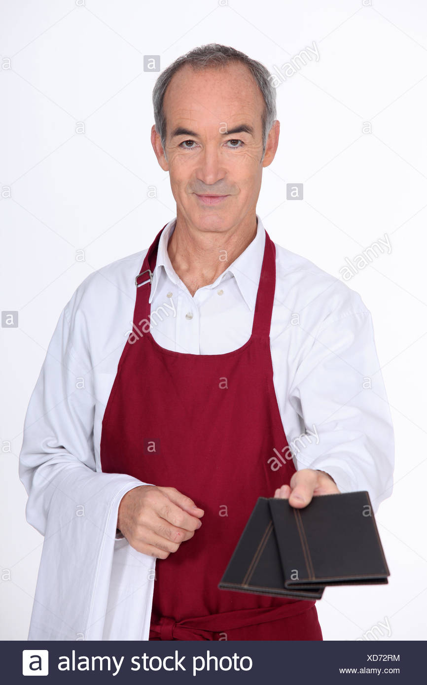 male, masculine, over, menus, handing, man, laugh, laughs, laughing, twit, - Stock Image