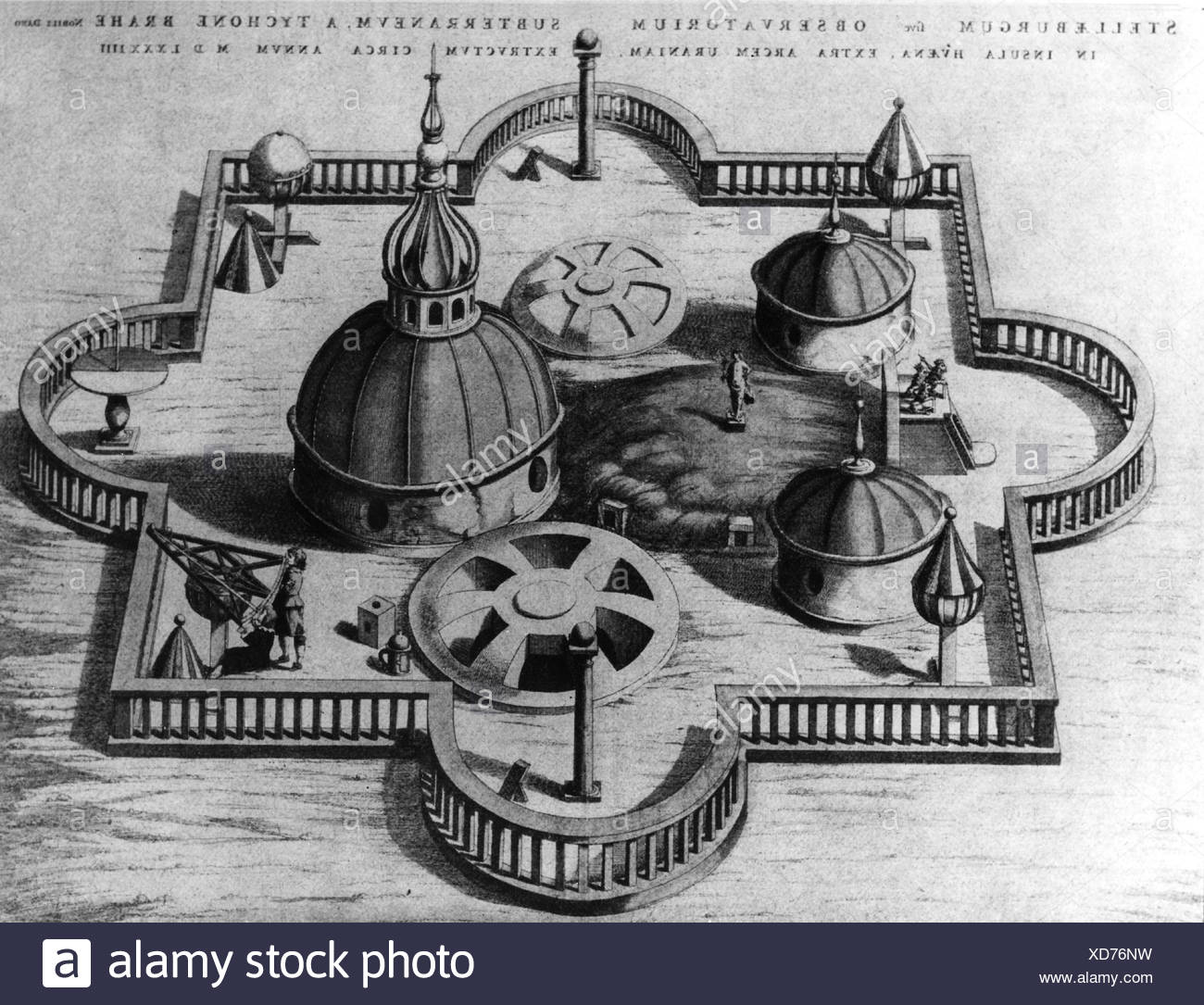 Brahe, Tycho, 14.12.1546 - 24.10.1601, Danish astronomer, observatory Sternburg island Hveen 1584, , Additional-Rights-Clearances-NA - Stock Image