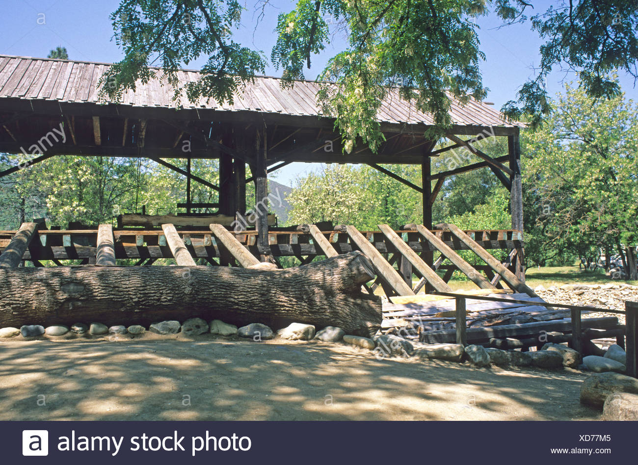 Reconstructed Sutters mill at Marshall Gold Discovery Site Coloma California - Stock Image
