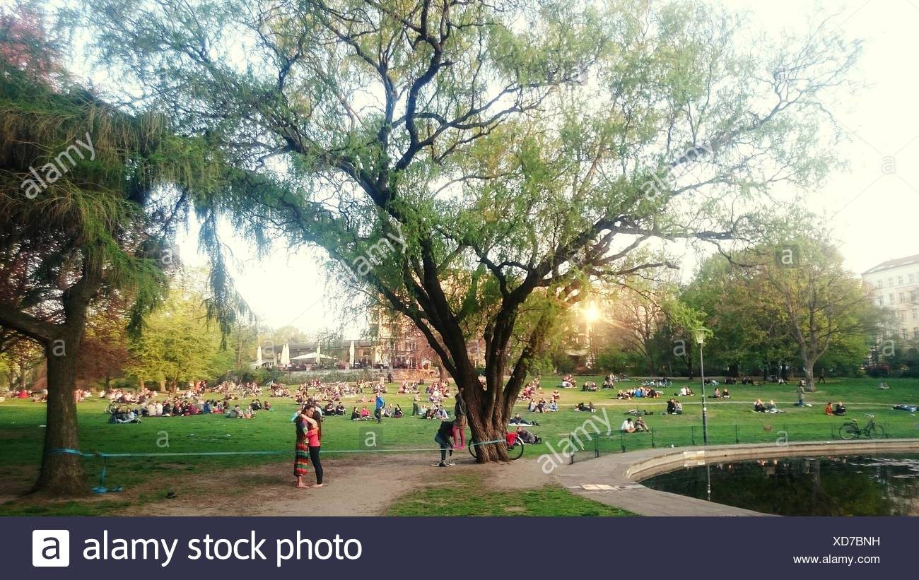 People Enjoying On Grass Area In Weinberg Park Stock Photo