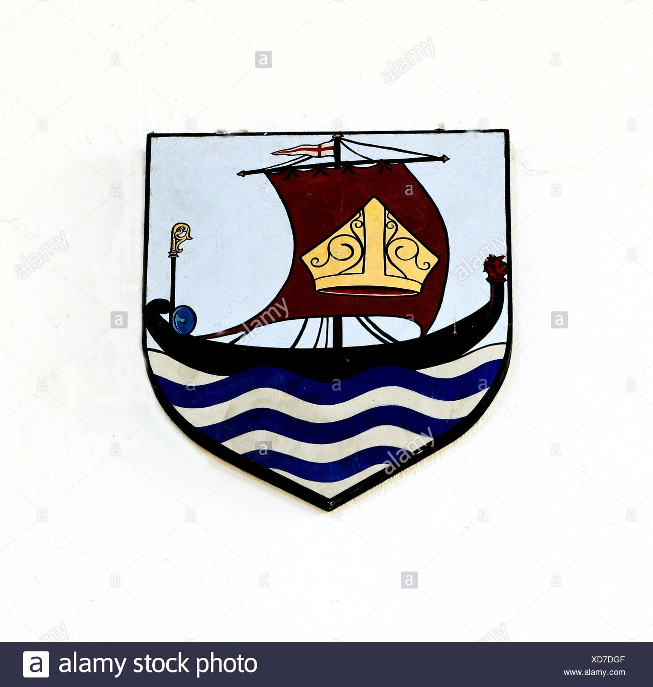 St. Felix, Saxon saint, saints, emblem of mitre, on Sail of a Boat, shield, Flitcham, Norfolk, England, UK - Stock Image