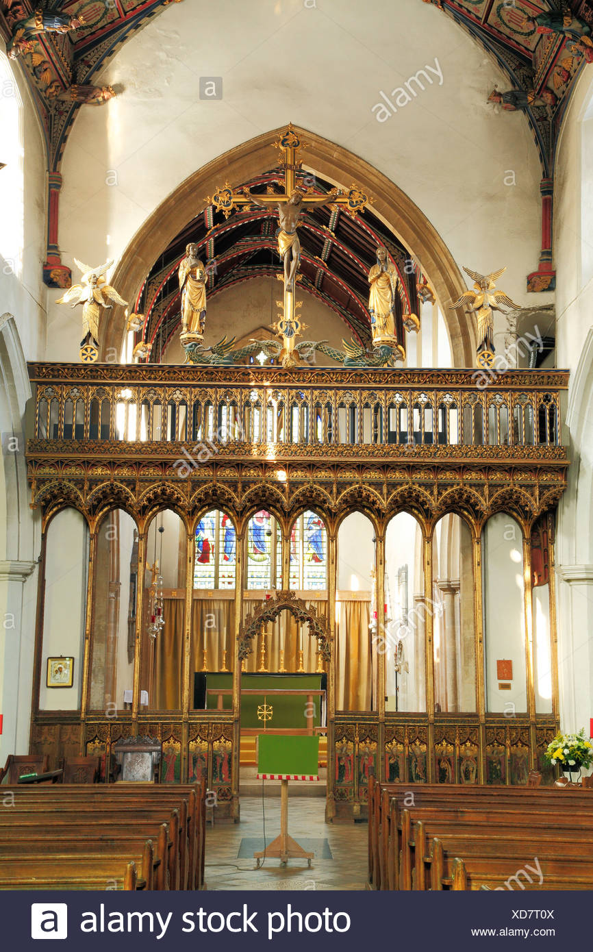 Eye, Suffolk, medieval rood screen, vaulting and loft, partially rebuilt by Sir Ninian Comper 1925, England UK interior church - Stock Image