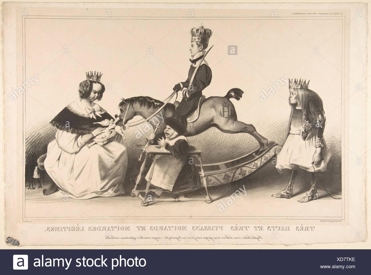 Very Haughty and Very Mighty Legitimist Brats. Series/Portfolio: L'Association Mensuelle no. 19; Artist: Honoré Daumier (French, Marseilles 1808-1879 - Stock Image
