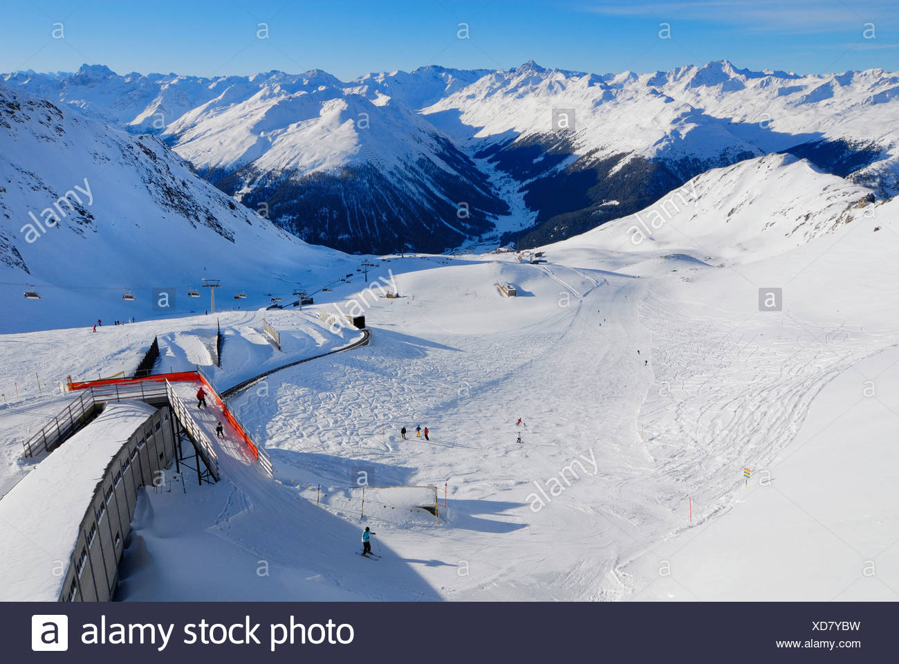 View from the top of Parsenn - Davos, Canton of Graubuenden, Switzerland, Europe. - Stock Image