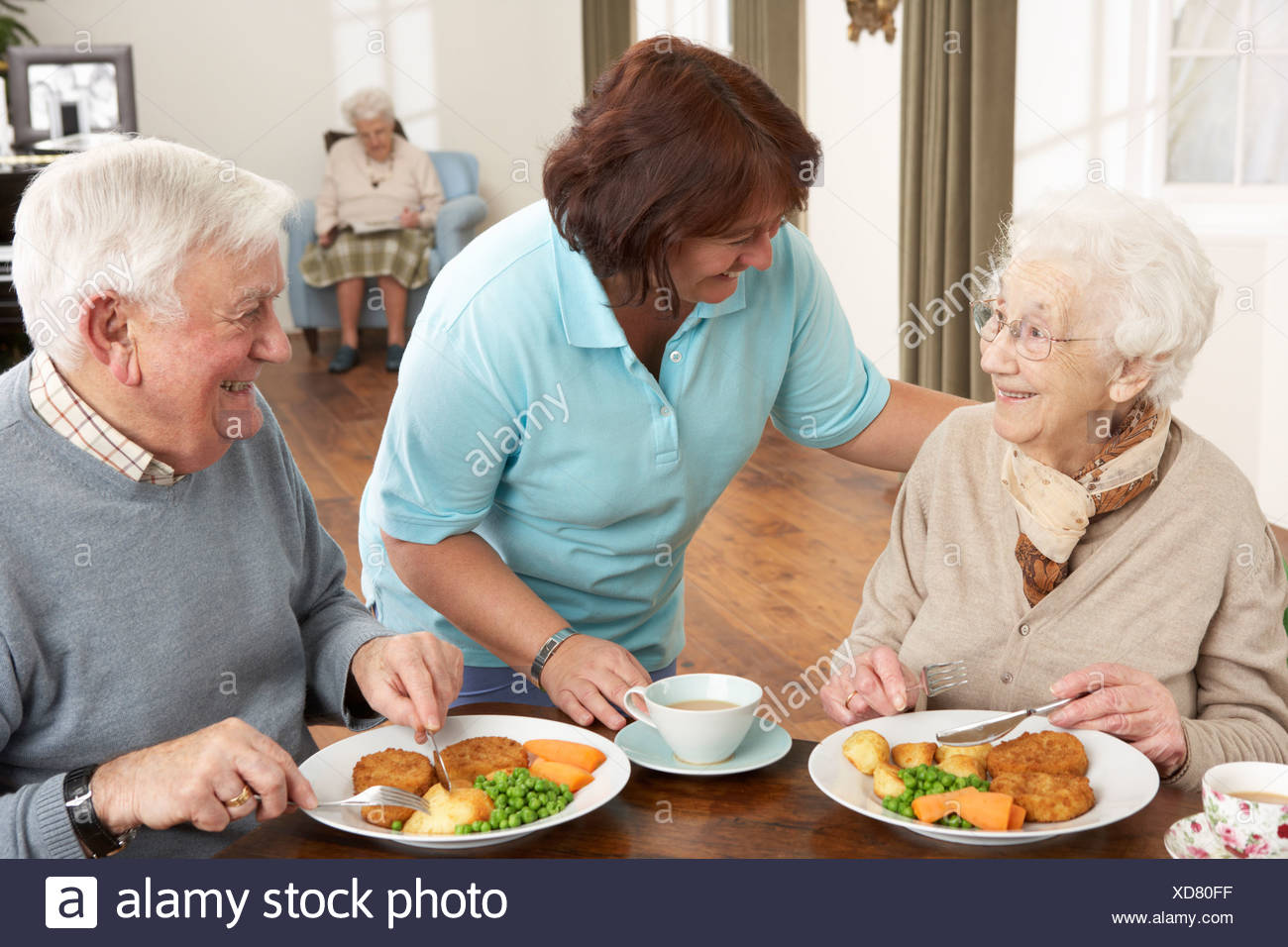 Senior Couple Being Served Meal By Carer - Stock Image