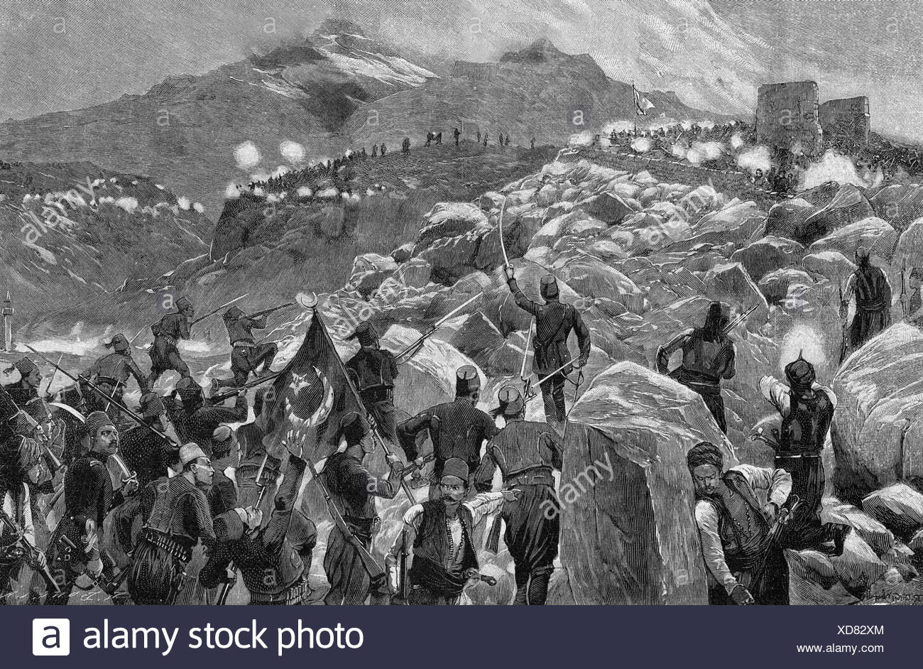 events, Cretian Insurrection 1896 - 1897, Turkish soldiers attacking a Cretian position, wood engraving, 1897, Crete, Greece, Ottoman empire, skirmish, mountains, 19th century, historic, historical, people, Additional-Rights-Clearances-NA - Stock Image