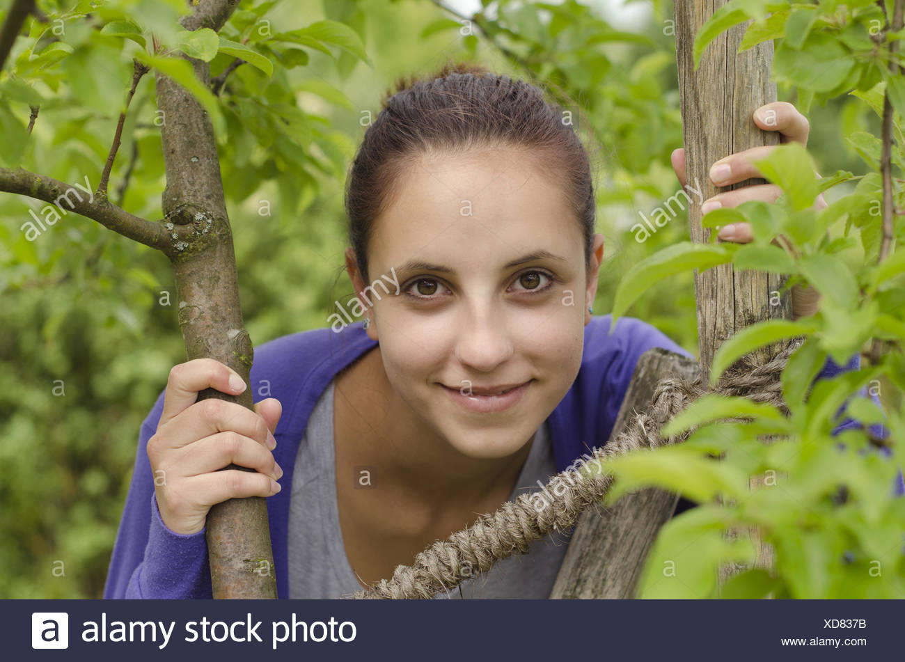 Young woman looks out from tree Stock Photo